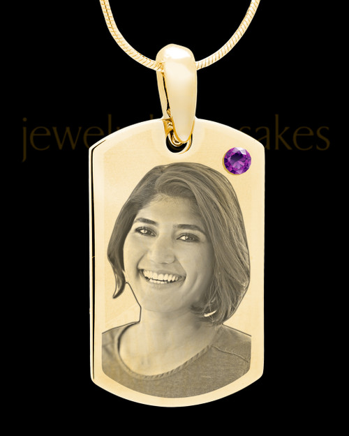February Gold Photo Engraved Small Dog Tag