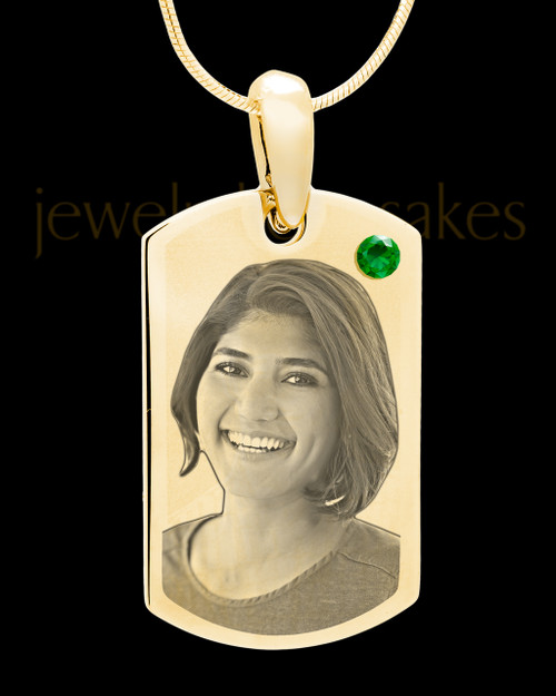 May Gold Photo Engraved Small Dog Tag