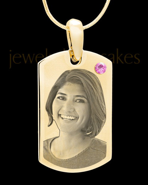 June Gold Photo Engraved Small Dog Tag