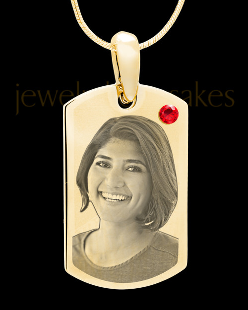 July Gold Photo Engraved Small Dog Tag