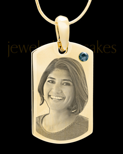 December Gold Photo Engraved Small Dog Tag