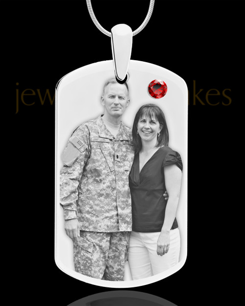 January Birthstone Dog Tag Stainless Photo Pendant