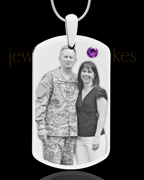 February Birthstone Dog Tag Stainless Photo Pendant