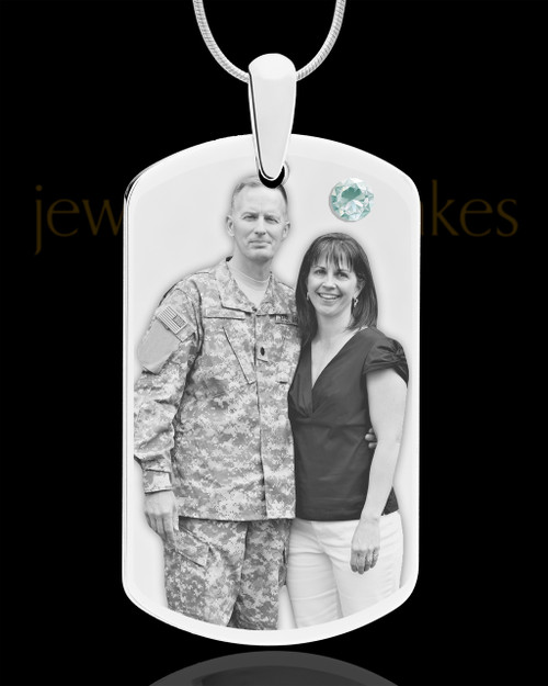 April Birthstone Dog Tag Stainless Photo Pendant