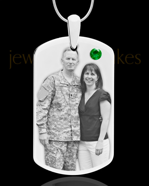 May Birthstone Dog Tag Stainless Photo Pendant