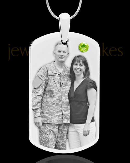 August Birthstone Dog Tag Stainless Photo Pendant