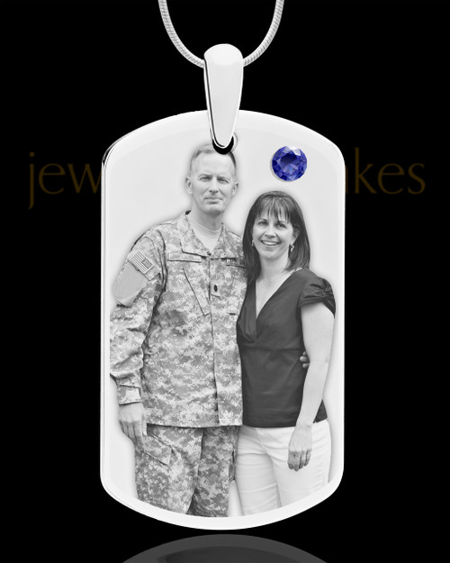 September Birthstone Dog Tag Stainless Photo Pendant