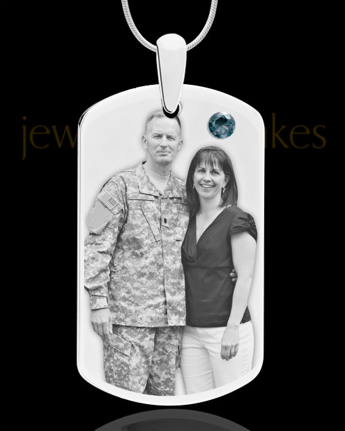 December Birthstone Dog Tag Stainless Photo Pendant