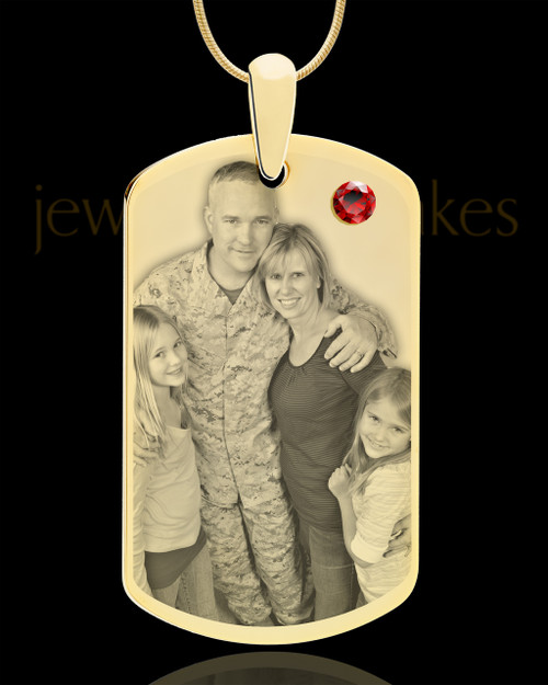 January Gold Dog Tag Photo Pendant