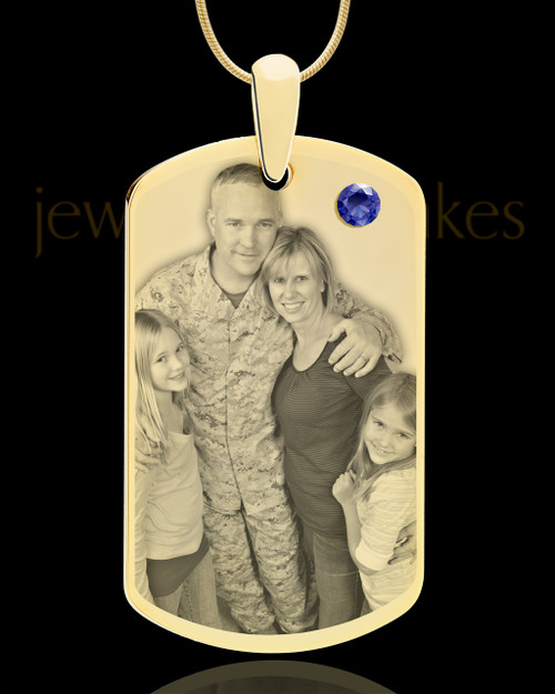 September Gold Dog Tag Photo Pendant