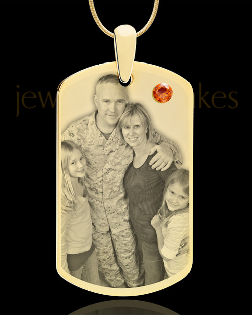 November Gold Dog Tag Photo Pendant