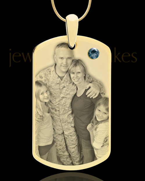 December Gold Dog Tag Photo Pendant