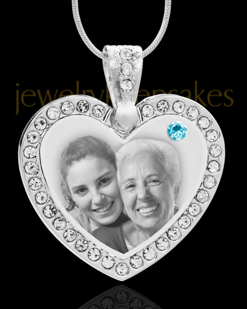 March Gem Heart Birthstone Stainless Photo Pendant