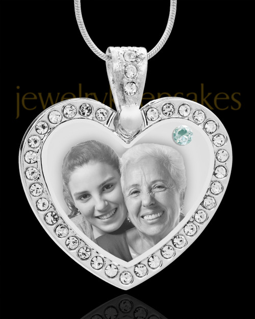 April Gem Heart Birthstone Stainless Photo Pendant