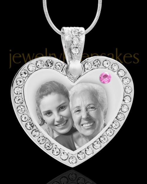 June Gem Heart Birthstone Stainless Photo Pendant