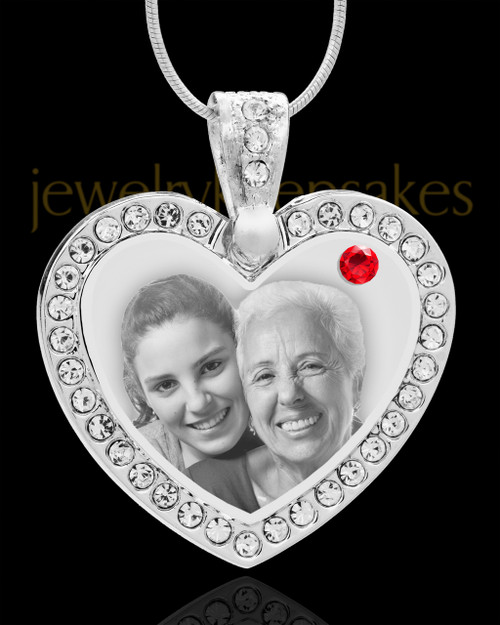 July Gem Heart Birthstone Stainless Photo Pendant