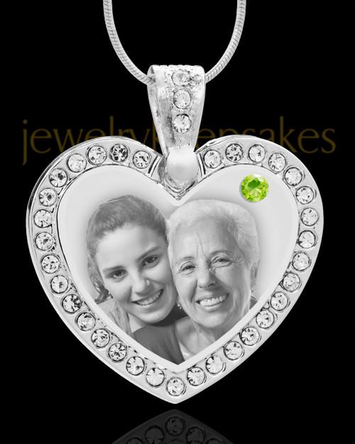 August Gem Heart Birthstone Stainless Photo Pendant