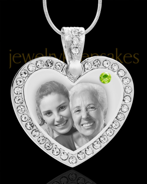 August Gem Heart Birthstone Stainless Photo Pendant