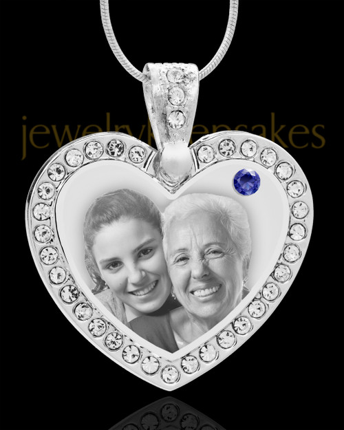 September Gem Heart Birthstone Stainless Photo Pendant