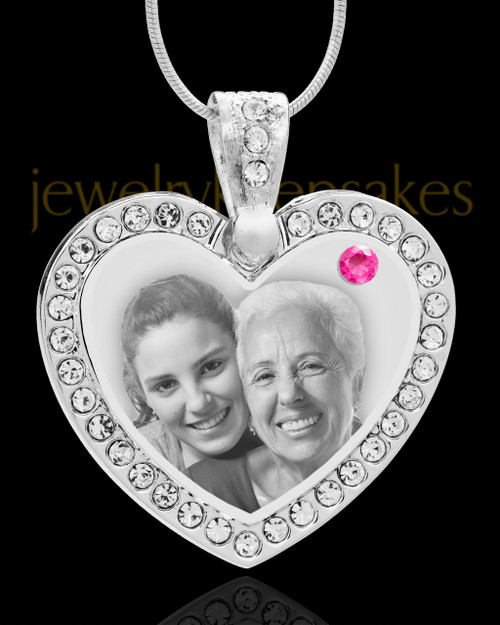 October Gem Heart Birthstone Stainless Photo Pendant