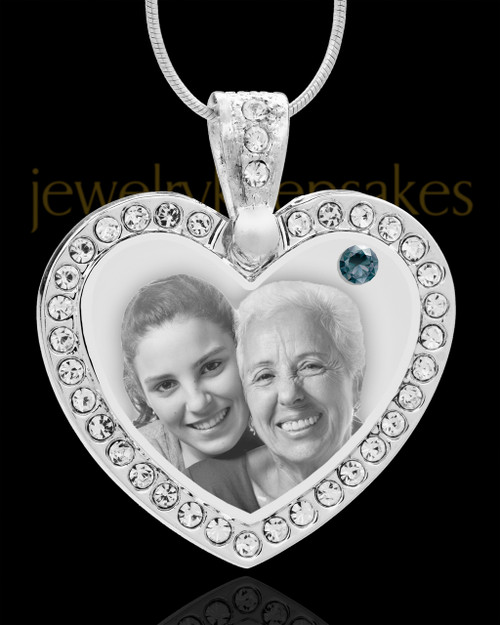 December Gem Heart Birthstone Stainless Photo Pendant
