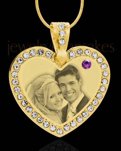 February Gold Gem Heart Birthstone Photo Engraved Pendant
