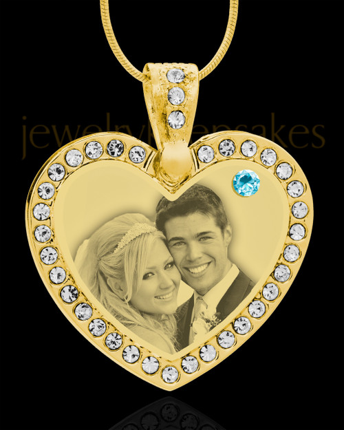March Gold Gem Heart Birthstone Photo Engraved Pendant