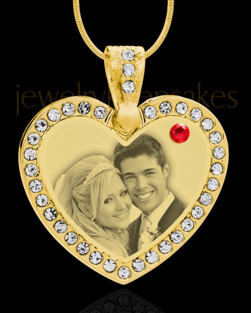 July Gold Gem Heart Birthstone Photo Engraved Pendant