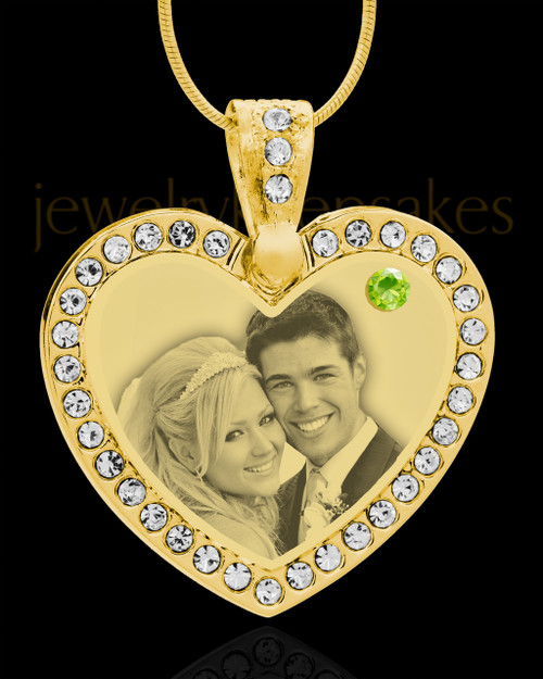 August Gold Gem Heart Birthstone Photo Engraved Pendant