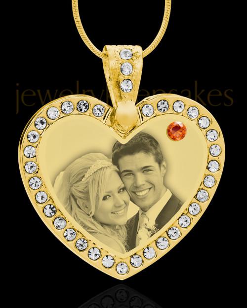 November Gold Gem Heart Birthstone Photo Engraved Pendant