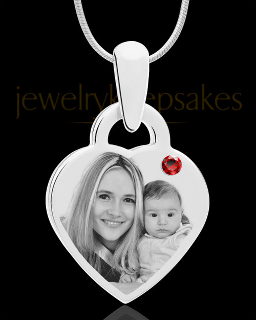 January Small Heart Stainless Photo Engraved Pendant