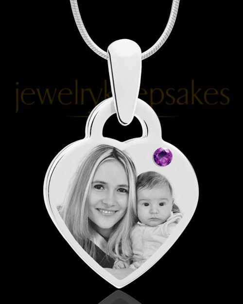 February Small Heart Stainless Photo Engraved Pendant