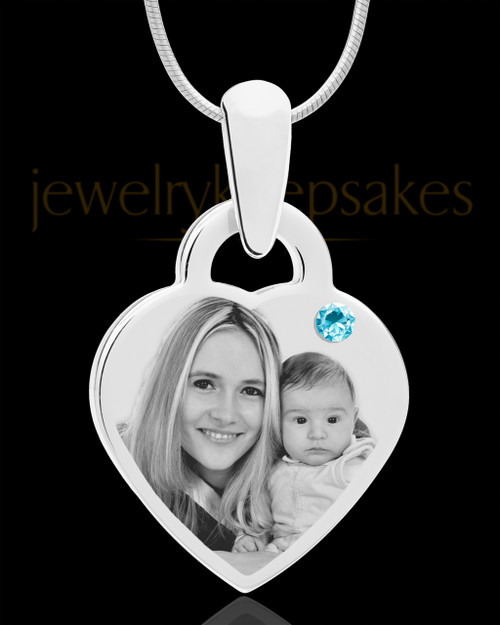 March Small Heart Stainless Photo Engraved Pendant