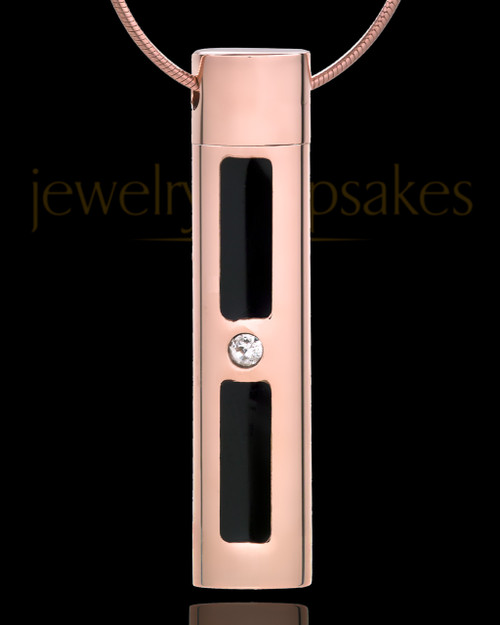 Rose Gold Plated Necklace Urn Soulful Cylinder - Eternity Collection