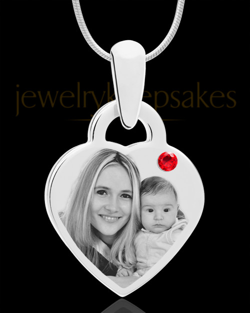 July Small Heart Stainless Photo Engraved Pendant