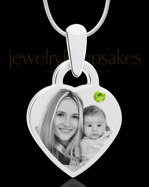 August Small Heart Stainless Photo Engraved Pendant