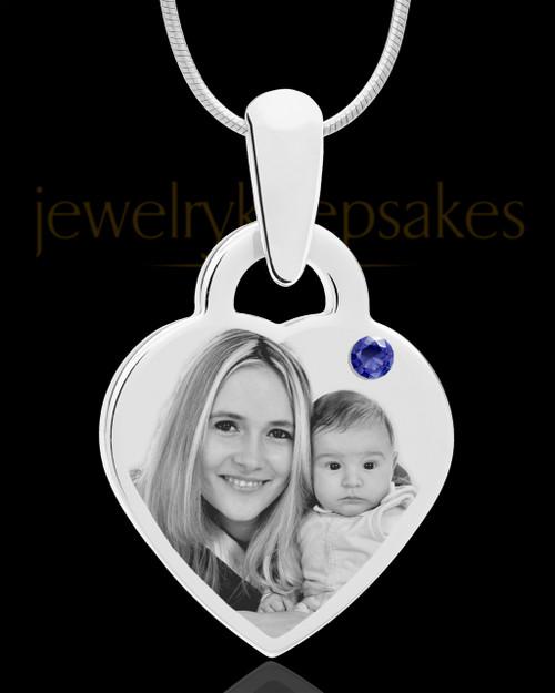 September Small Heart Stainless Photo Engraved Pendant