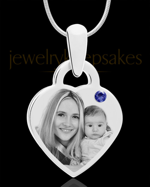 September Small Heart Stainless Photo Engraved Pendant