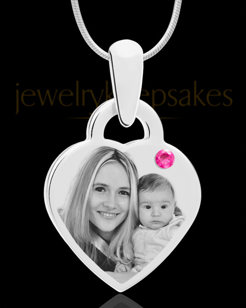October Small Heart Stainless Photo Engraved Pendant