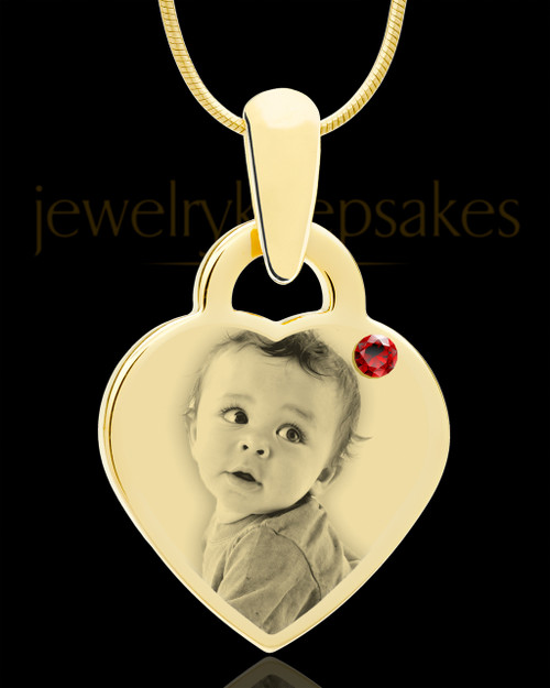 January Gold Small Photo Engraved Heart Pendant