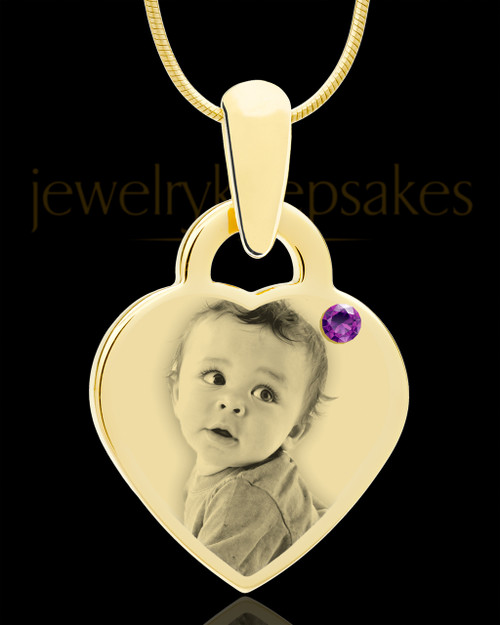 February Gold Small Photo Engraved Heart Pendant