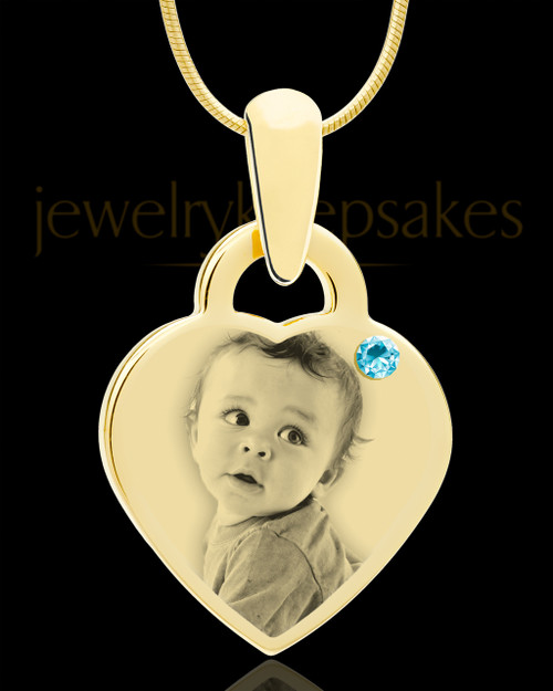 March Gold Small Photo Engraved Heart Pendant