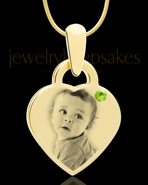 August Gold Small Photo Engraved Heart Pendant