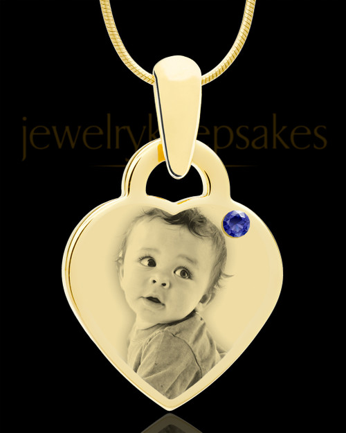 September Gold Small Photo Engraved Heart Pendant