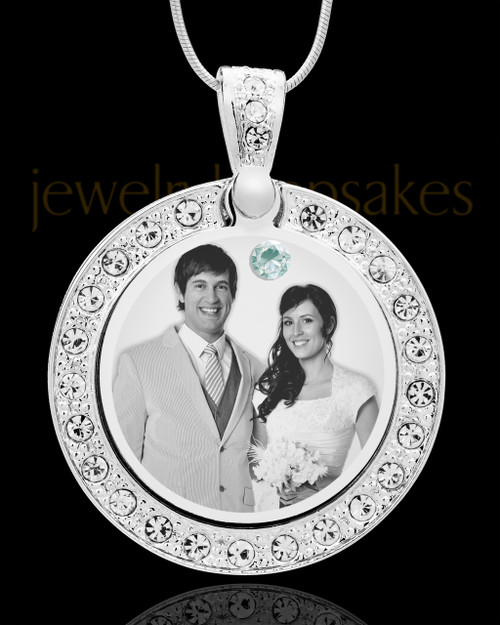April Birthstone Gem Circle Photo Engraved Pendant