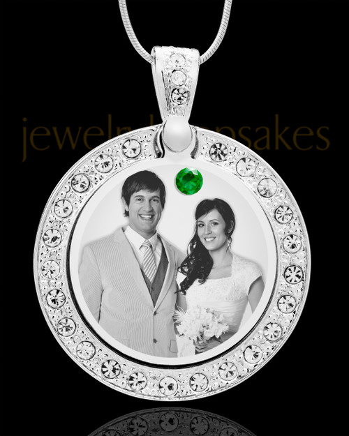May Birthstone Gem Circle Photo Engraved Pendant
