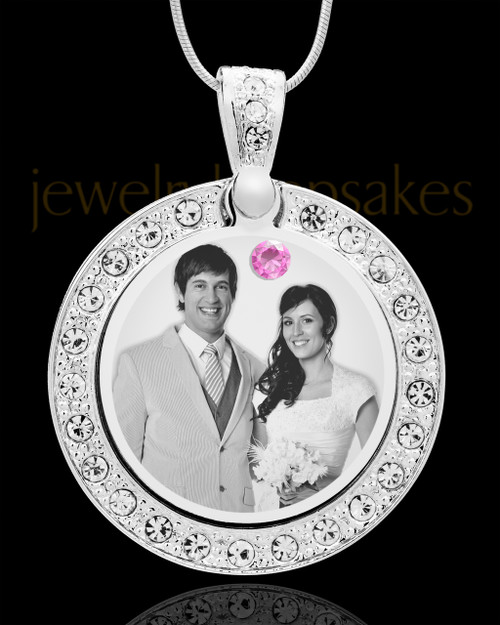 June Birthstone Gem Circle Photo Engraved Pendant