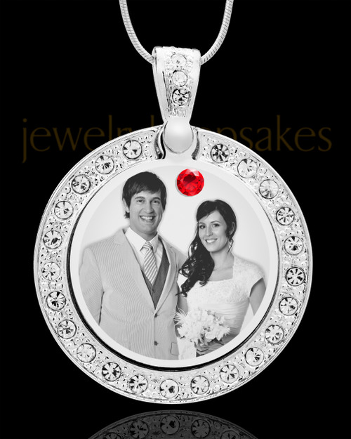 July Birthstone Gem Circle Photo Engraved Pendant