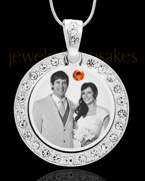 November Birthstone Gem Circle Photo Engraved Pendant