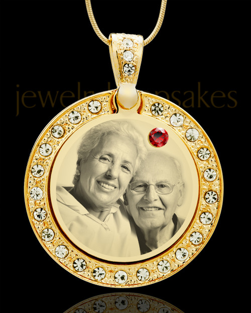 January Gold Gem Circle Birthstone Photo Pendant